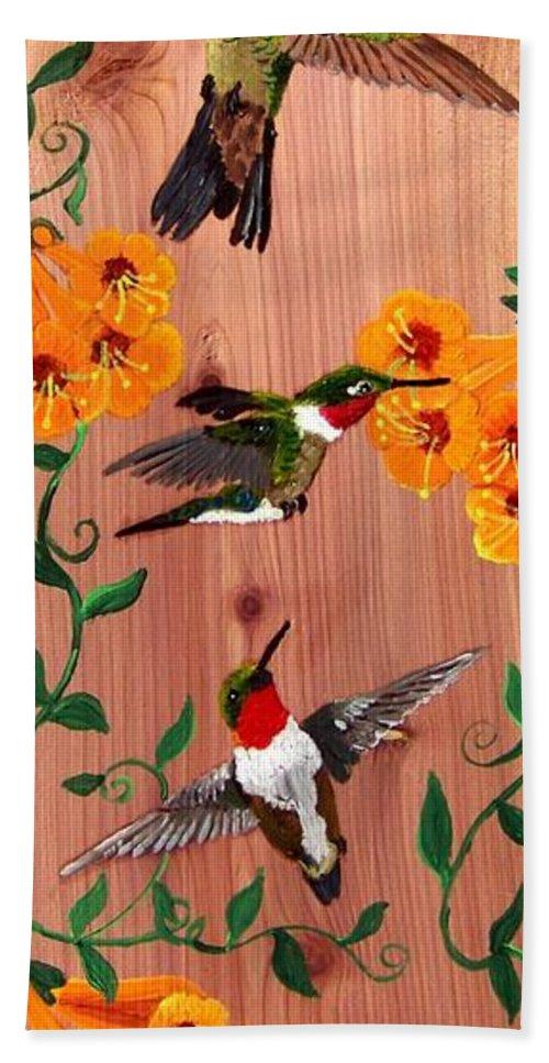 Hummingbird Hand Towel featuring the painting Hummingbirds On Cedar by Debbie LaFrance