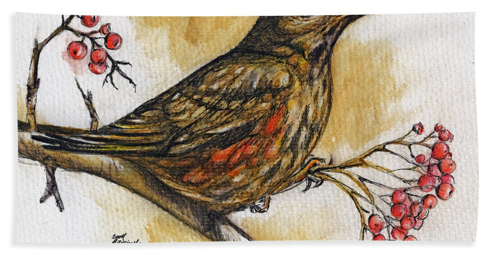 Thrush Hand Towel featuring the painting Hungry Thrush by Angel Ciesniarska
