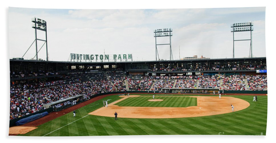 Columbus Clippers Hand Towel featuring the photograph D24w-243 Huntington Park Photo by Ohio Stock Photography