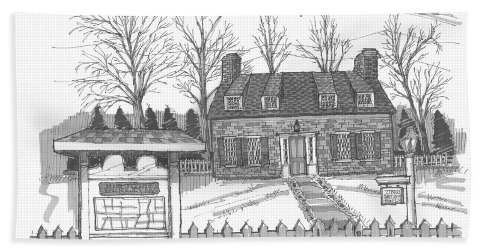Hurley Hand Towel featuring the drawing Hurley Historical Society by Richard Wambach