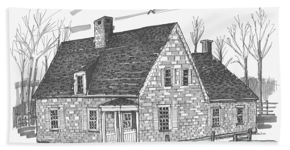 Hurley Hand Towel featuring the drawing Hurley Stone House by Richard Wambach