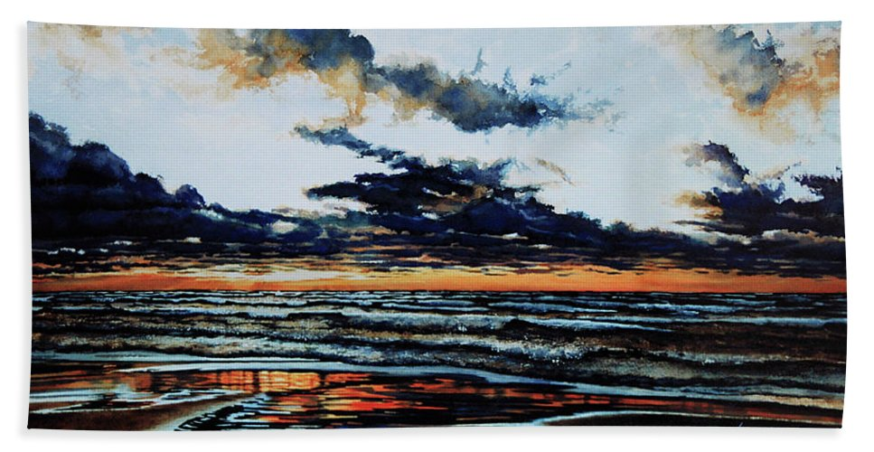 Lake Huron Hand Towel featuring the painting Huron by Hanne Lore Koehler