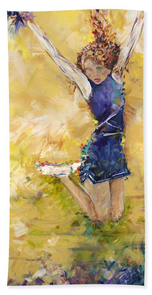 Cheer Team Bath Sheet featuring the painting Hurrah by Karen Ahuja