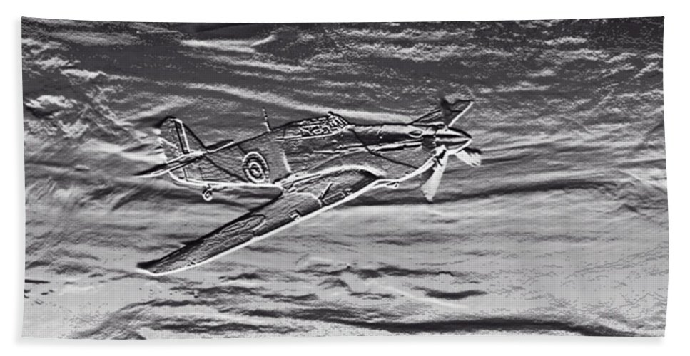 Action Bath Sheet featuring the mixed media Hurricane Fighter Plane Relief by Roy Pedersen