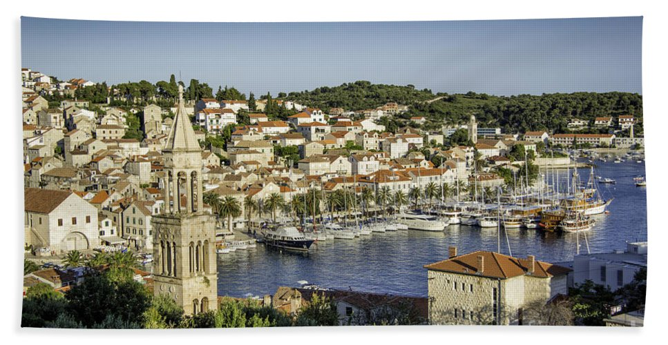 Croatia Hand Towel featuring the photograph Hvar Overlook by Timothy Hacker
