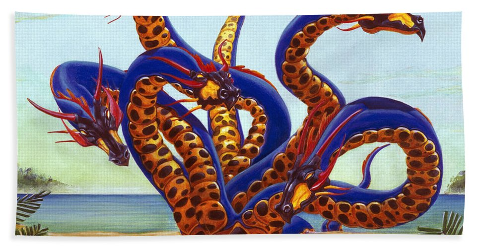 Color Hand Towel featuring the painting Hydra on Beach by Melissa A Benson