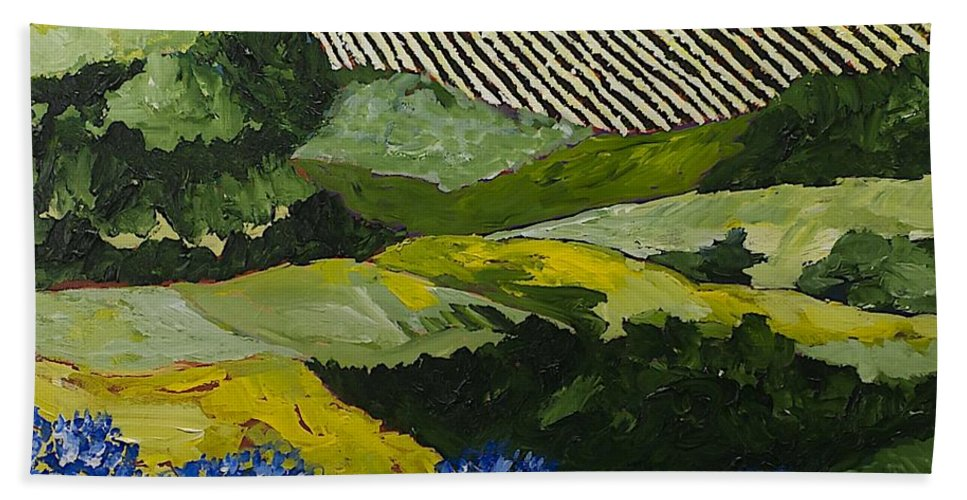 Landscape Bath Towel featuring the painting Hydrangea Valley by Allan P Friedlander