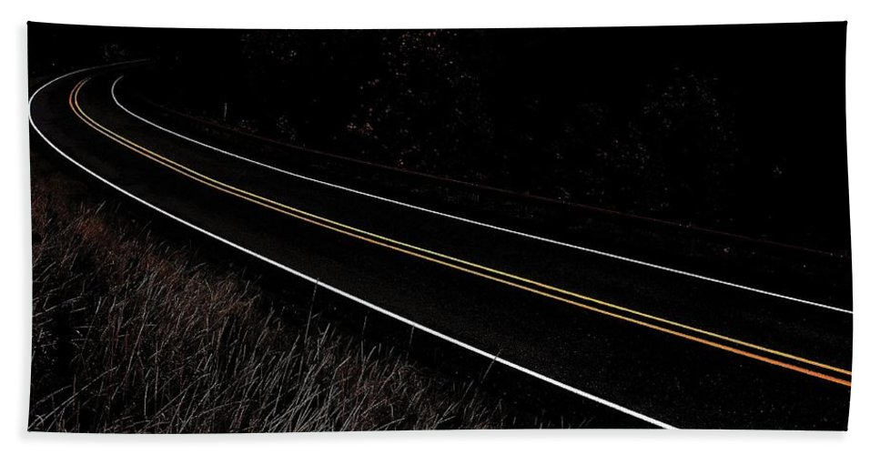 Road Bath Sheet featuring the photograph I Believe You Are Going... by Benjamin Yeager