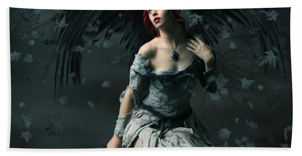 Angel Hand Towel featuring the digital art I Gave My All 3 by Babette Van den Berg