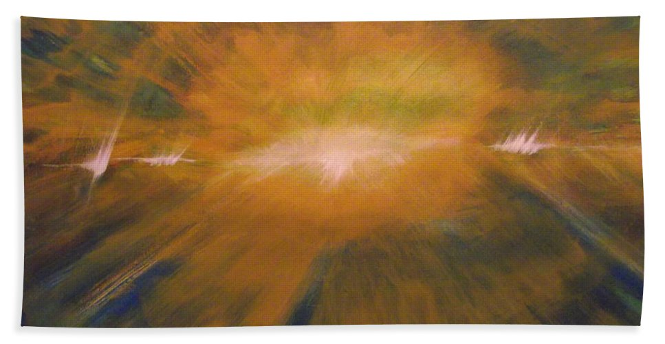 Landscape Bath Sheet featuring the painting I Had A Glorious Moment...once by Edward Smith