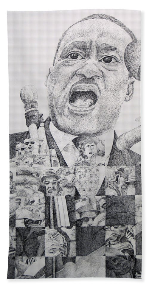 Martin Luther King Hand Towel featuring the drawing Martin Luther King-i Have A Dream by Joshua Morton