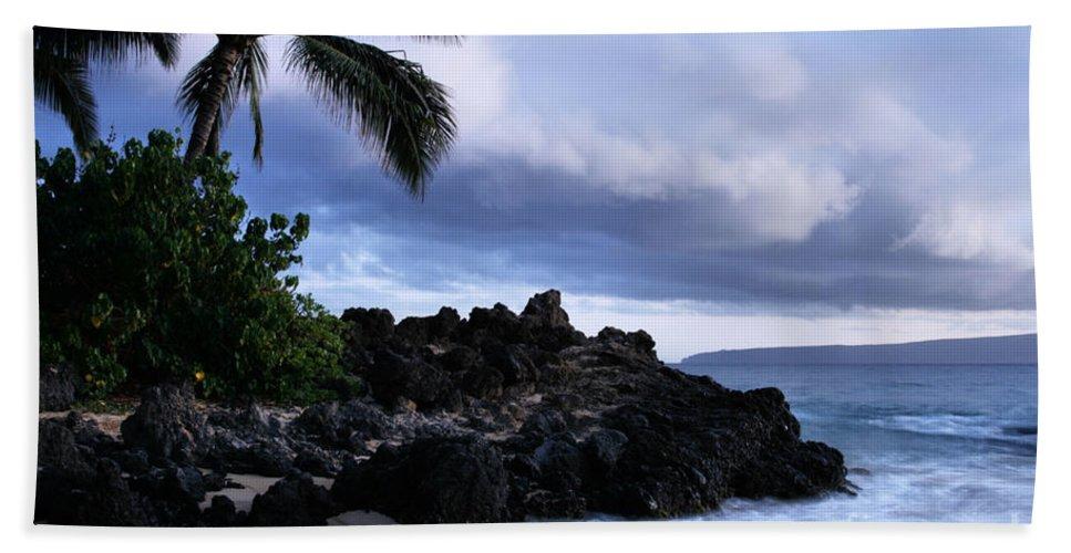Aloha Bath Sheet featuring the photograph I Ke Kai Hawanawana Eia Kuu Lei Aloha - Paako Beach Maui Hawaii by Sharon Mau