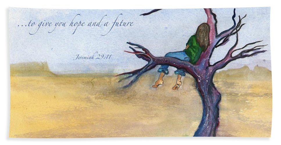 Scripture Hand Towel featuring the painting I Know The Plans I Have For You by Marie Clark