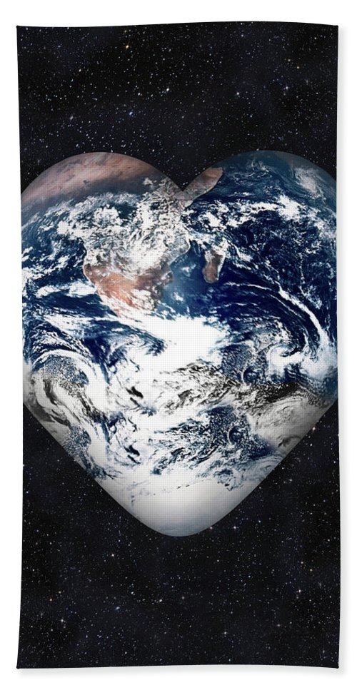 Earth Bath Sheet featuring the digital art I Love Earth by Gravityx9 Designs