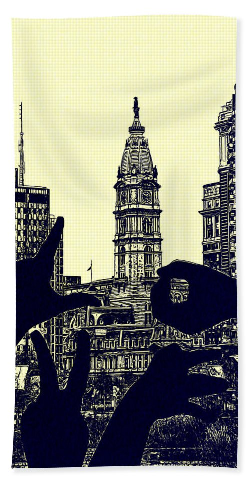 I Love Philly Hand Towel featuring the photograph I Love Philly by Bill Cannon