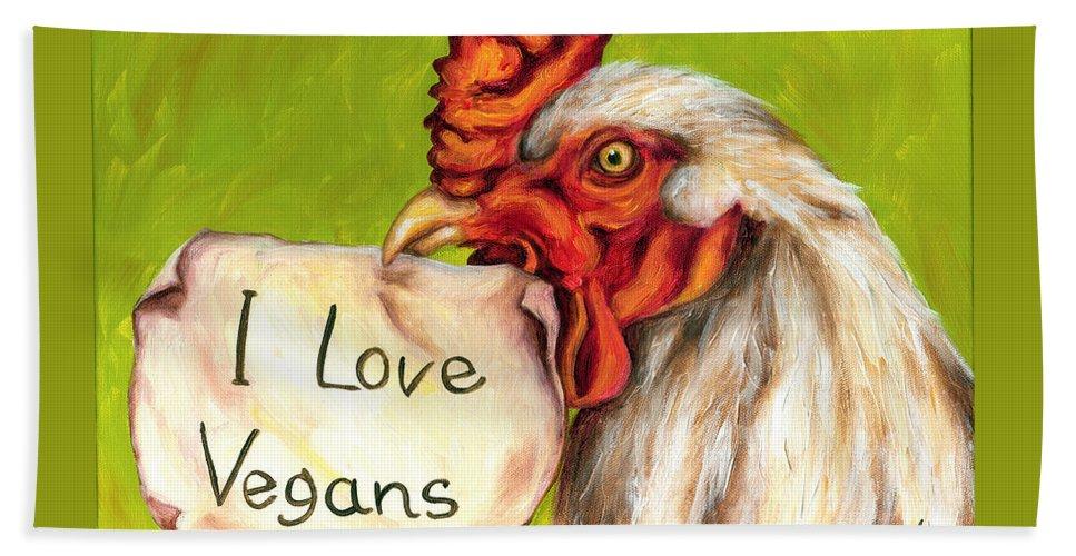 Hilarious Bath Sheet featuring the painting I Love Vegans by Hiroko Sakai