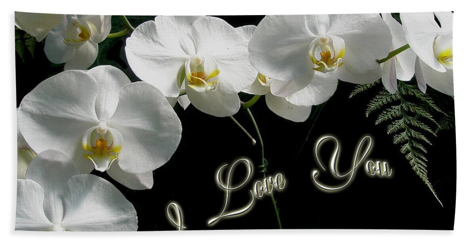 Love Bath Sheet featuring the photograph I Love You Greeting - White Moth Orchids by Mother Nature