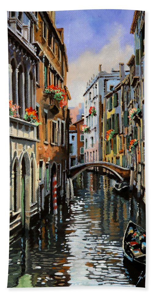 Venice Hand Towel featuring the painting I Pali Rossi by Guido Borelli