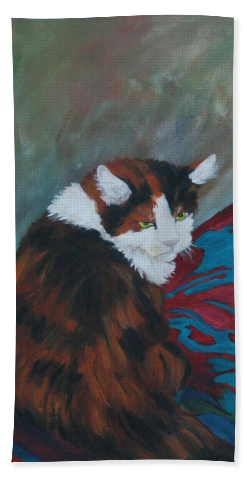 Cat Art Hand Towel featuring the painting I Want My Lap by Gail Daley
