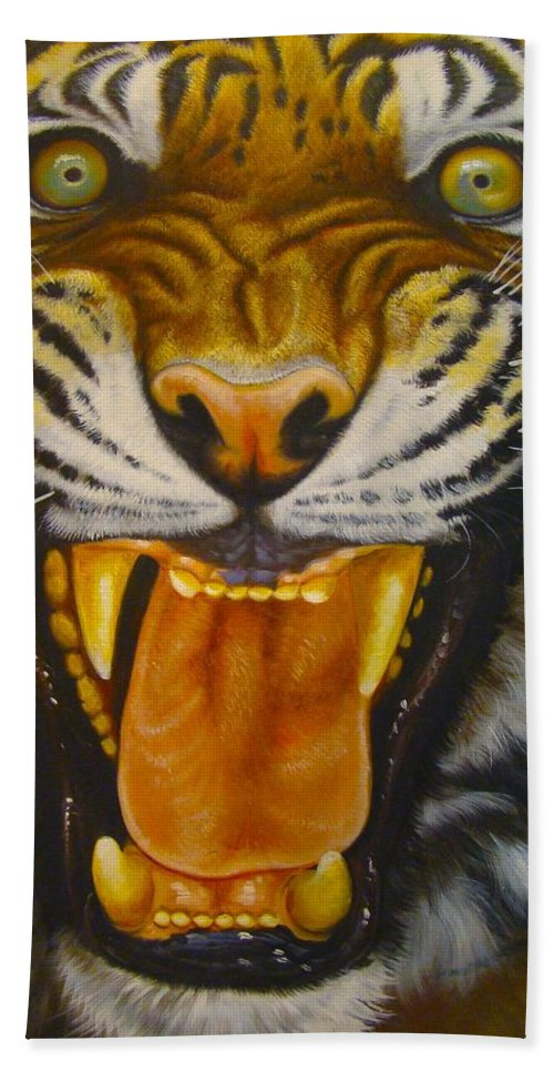 Chinese Tiger Hand Towel featuring the photograph I Want My Morning Coffee by Tim G Ross