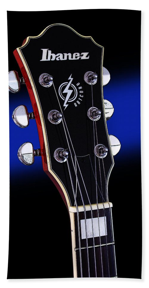 Guitar Hand Towel featuring the photograph Ibanez Af75 Electric Hollowbody Guitar Headstock by John Cardamone