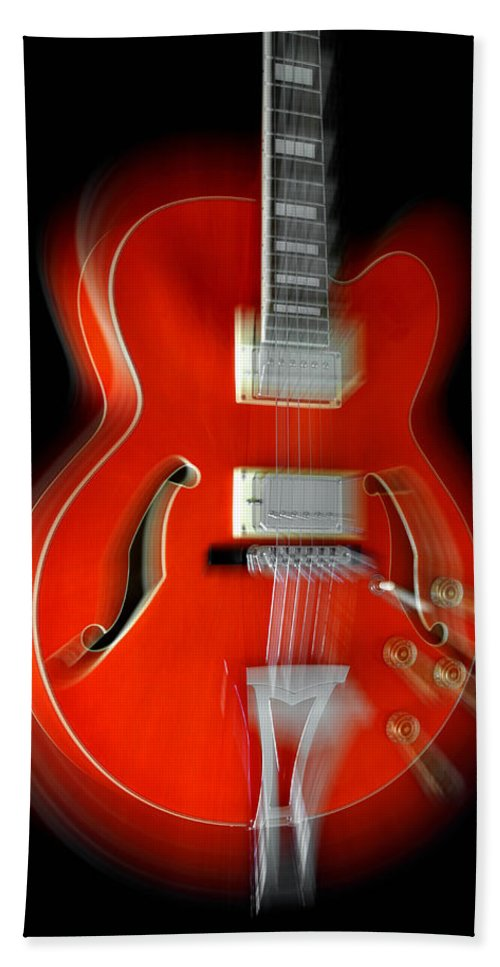 Guitar Hand Towel featuring the photograph Ibanez Af75 Hollowbody Electric Guitar Zoom by John Cardamone