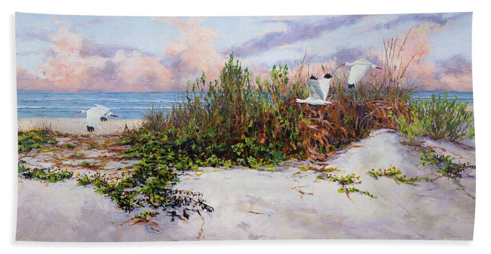 Ibis Bath Sheet featuring the painting Ibis Sunset by Carol McArdle