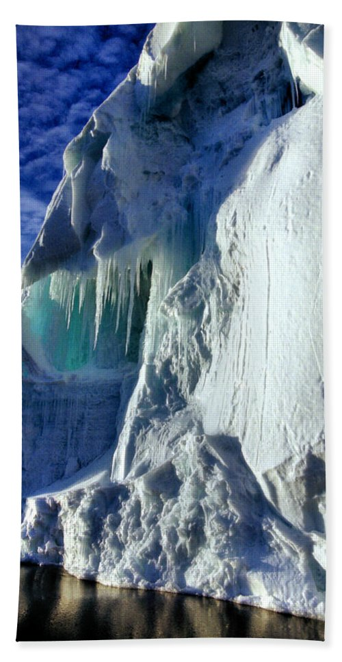 Icescape Hand Towel featuring the photograph Ice Berg Up Close And Personal by Carole-Anne Fooks