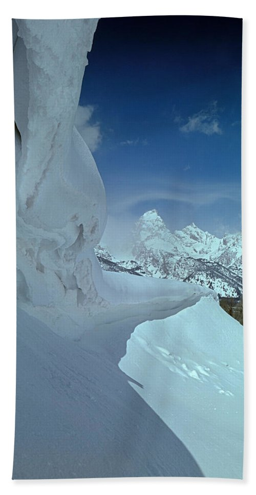 Cornices Bath Sheet featuring the photograph 1m9340-ice Cornices, Jackson Hole by Ed Cooper Photography