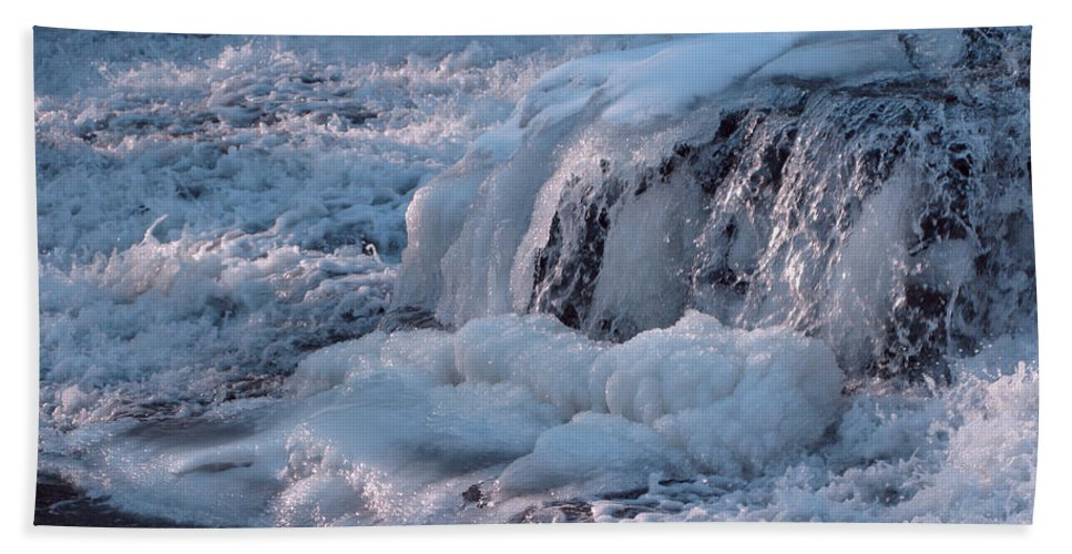 Winter Hand Towel featuring the photograph Iced Water by Ann Horn