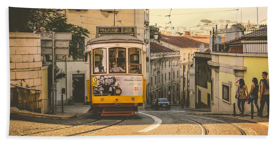 Streetcar Hand Towel featuring the photograph Iconic Lisbon Streetcar No. 28 Iv by Marco Oliveira