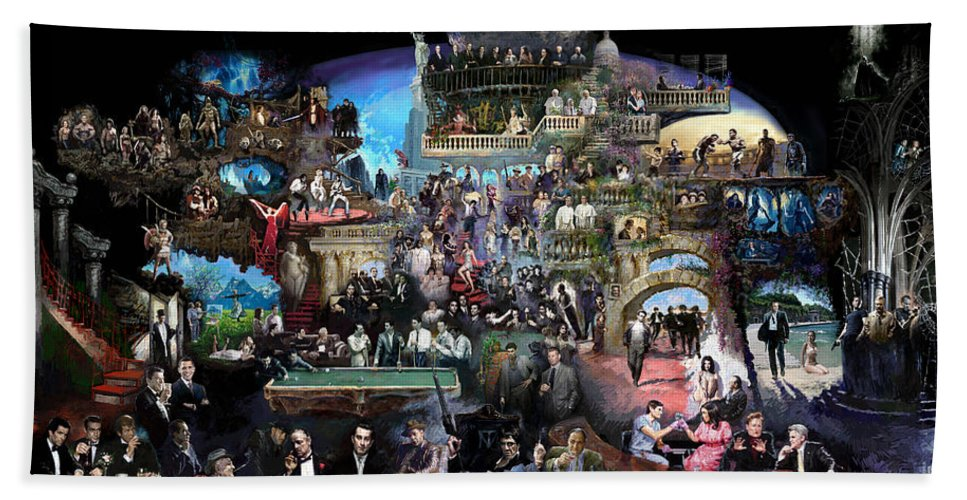 Icones Of History And Entertainment Bath Towel featuring the mixed media Icons Of History And Entertainment by Ylli Haruni