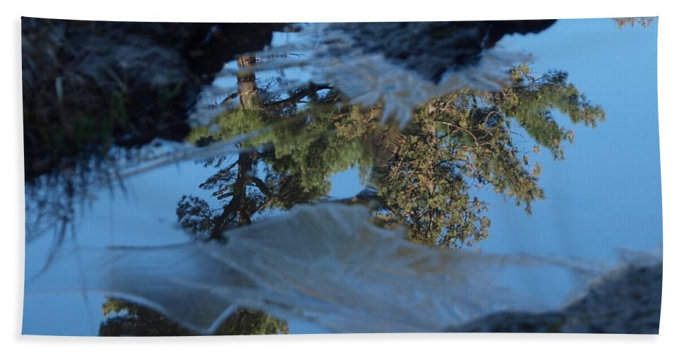 Jim Bath Sheet featuring the photograph Icy Evergreen Reflection by James Peterson