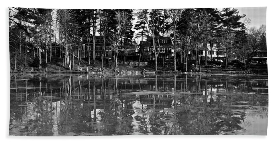 Icy Hand Towel featuring the photograph Icy Pond Reflects by Frozen in Time Fine Art Photography
