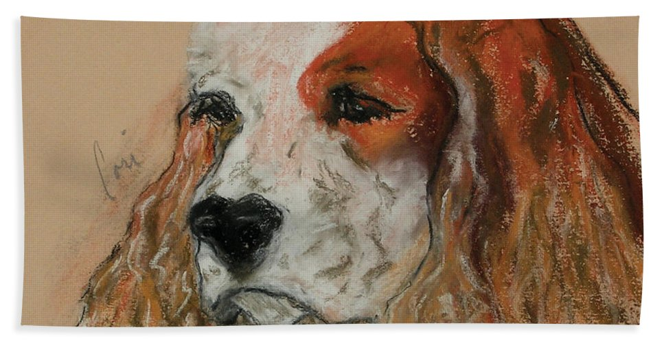 Dog Hand Towel featuring the pastel Idle Thoughts by Cori Solomon