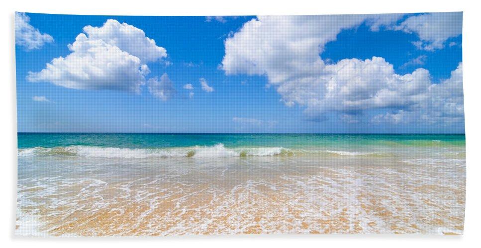 Beach Bath Towel featuring the photograph Idyllic Summer Beach Algarve Portugal by Amanda Elwell