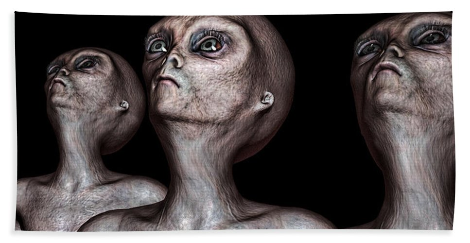 Alien Abduction Hand Towel featuring the digital art If One Was Three by Bob Orsillo
