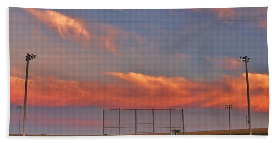 Baseball. Sports Bath Sheet featuring the photograph If You Build It The Sun Will Rise by Christopher Miles Carter