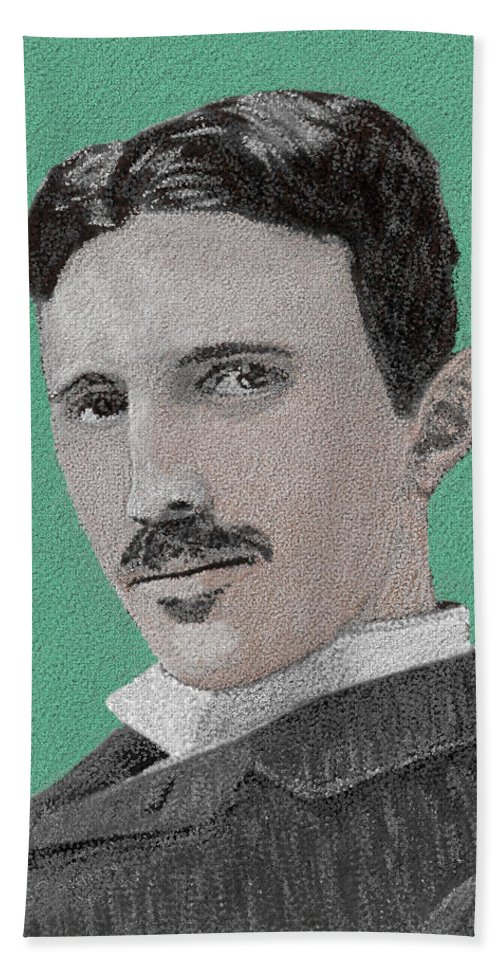 Nikola Tesla Bath Sheet featuring the painting If You Could Read My Mind...tesla by G Cannon