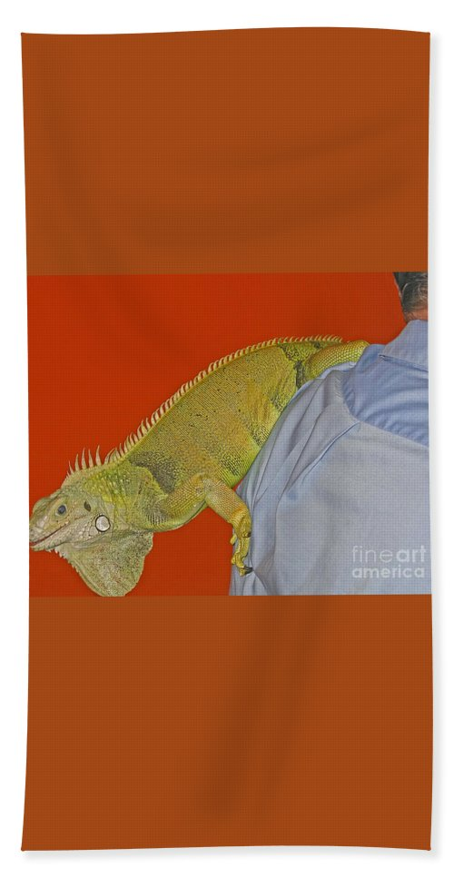 Iguana Bath Sheet featuring the photograph Iguana By The Tail by Ann Horn