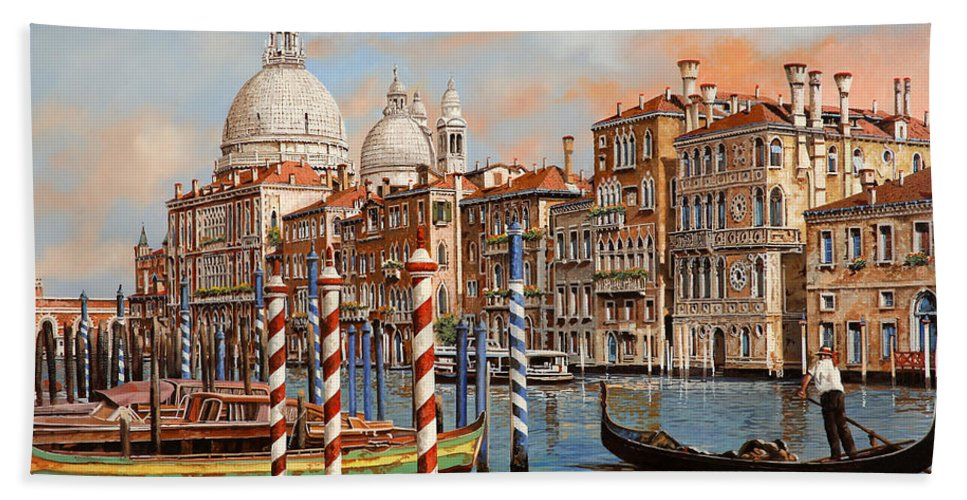 Venice Bath Sheet featuring the painting Il Canal Grande by Guido Borelli
