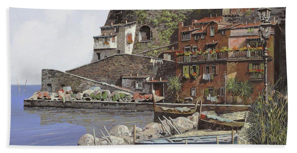 Italy Bath Towel featuring the painting il porto di Sorrento by Guido Borelli