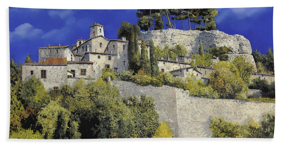 Blue Village Hand Towel featuring the painting Il Villaggio In Blu by Guido Borelli