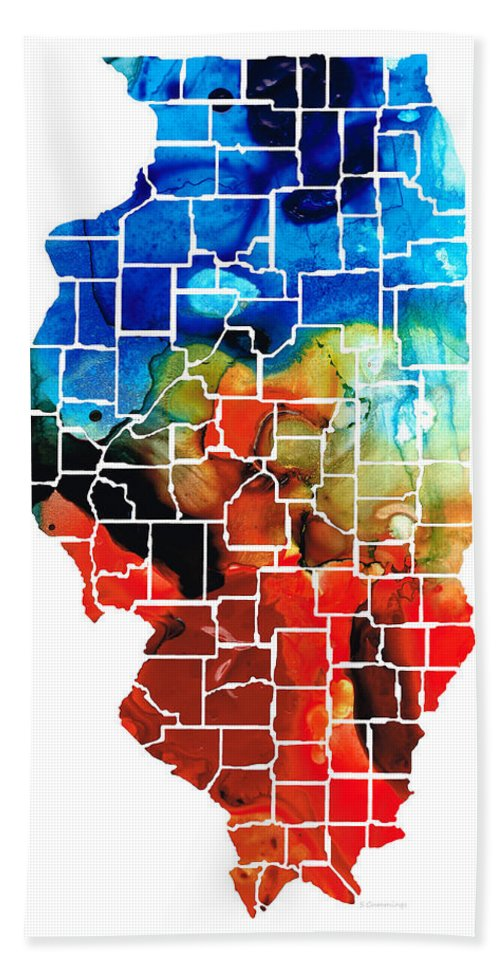 Illinois Hand Towel featuring the painting Illinois - Map Counties By Sharon Cummings by Sharon Cummings