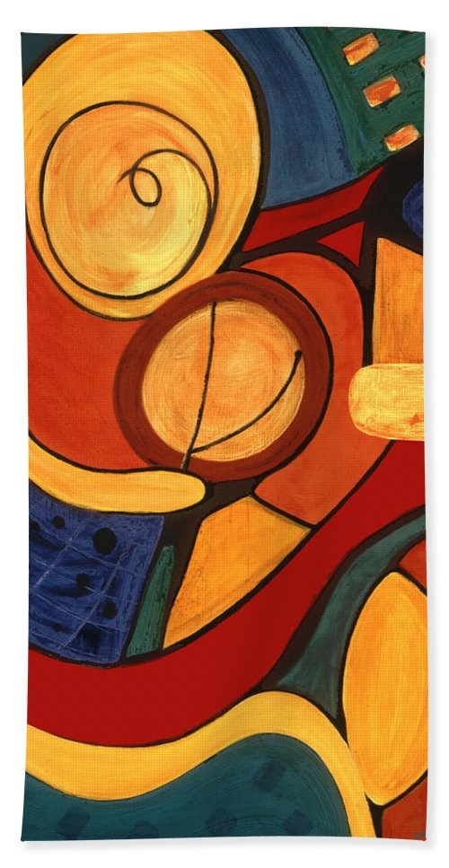Abstract Art Hand Towel featuring the painting Illuminatus 3 by Stephen Lucas