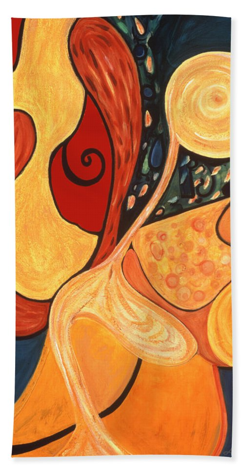 Abstract Art Hand Towel featuring the painting Illuminatus 4 by Stephen Lucas