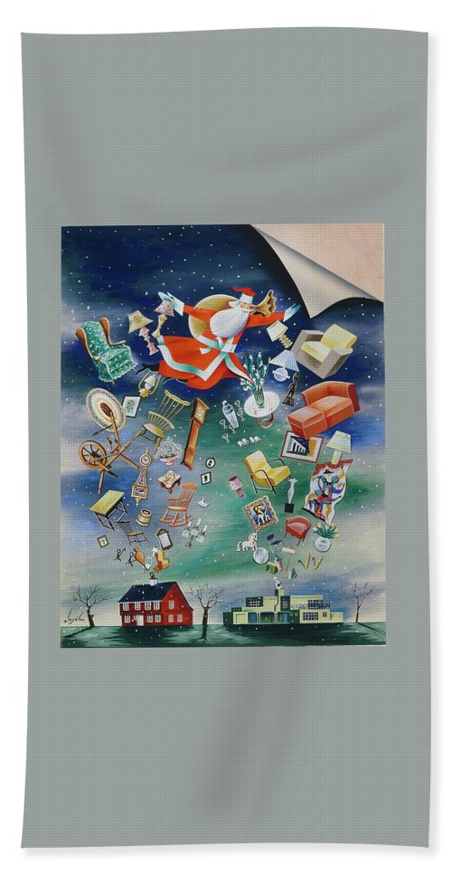 Decorative Art Bath Towel featuring the painting Illustration Of Santa Claus by Constantin Alajalov