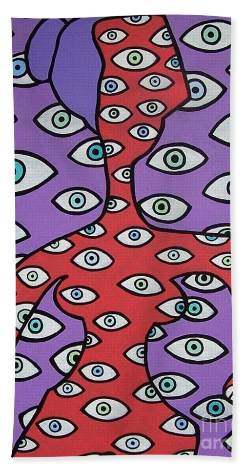 Eyes Hand Towel featuring the painting Im Watching You by Thomas Valentine