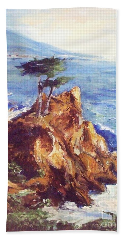 Seascape Hand Towel featuring the painting Imaginary Cypress by Eric Schiabor