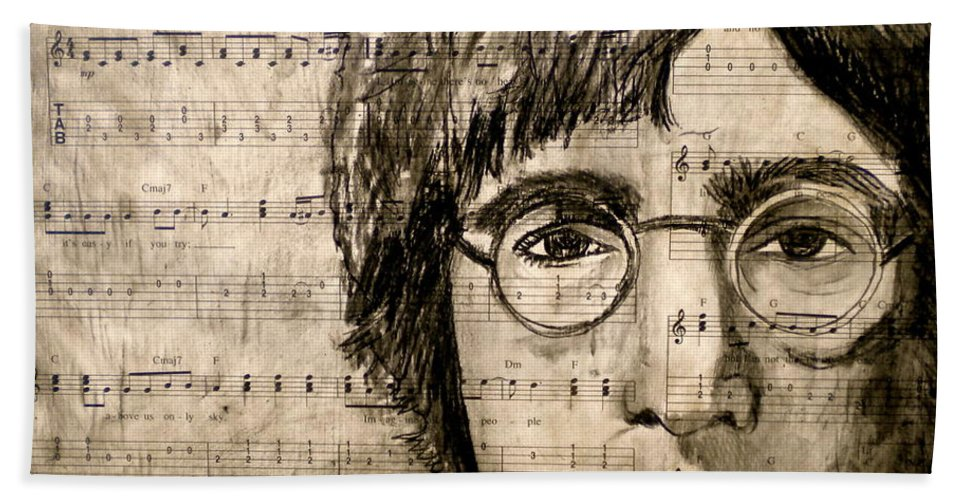 Imagine Bath Towel featuring the drawing Imagine by Debi Starr